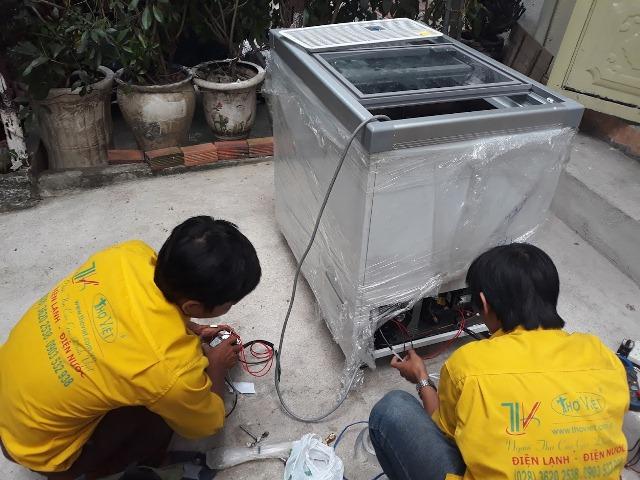 Sửa tủ đông Korea âm 40 độ bị tụt bơm, hỏng block tại quận Thủ Đức